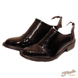 bota texana clasica charol negra